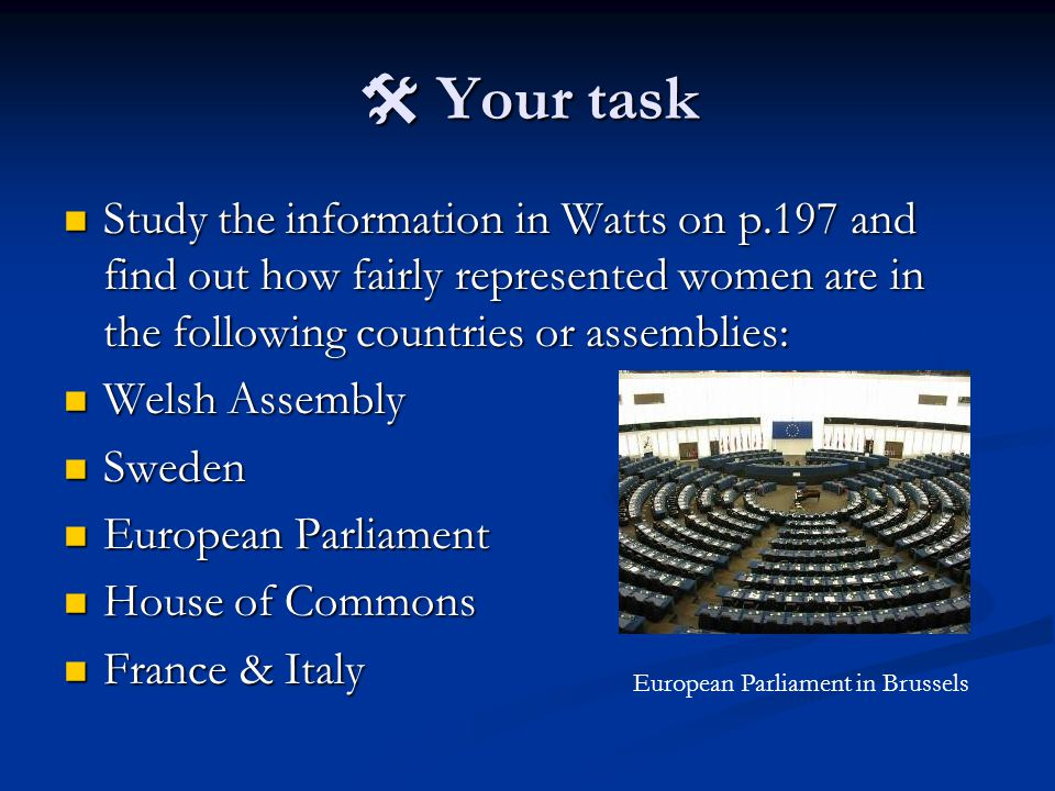  Your task Study the information in Watts on p.197 and find out how fairly represented women are in the following countries or assemblies: Study the