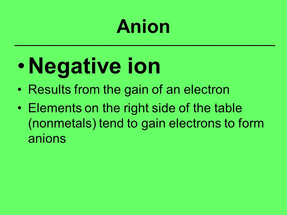 Anion Negative ion Results from the gain of an electron Elements on the right side of the table (nonmetals) tend to gain electrons to form anions