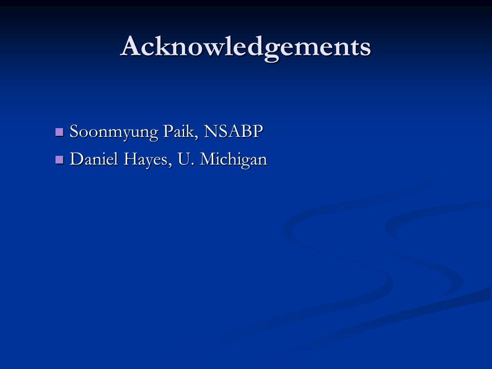 Acknowledgements Soonmyung Paik, NSABP Soonmyung Paik, NSABP Daniel Hayes, U. Michigan Daniel Hayes, U. Michigan