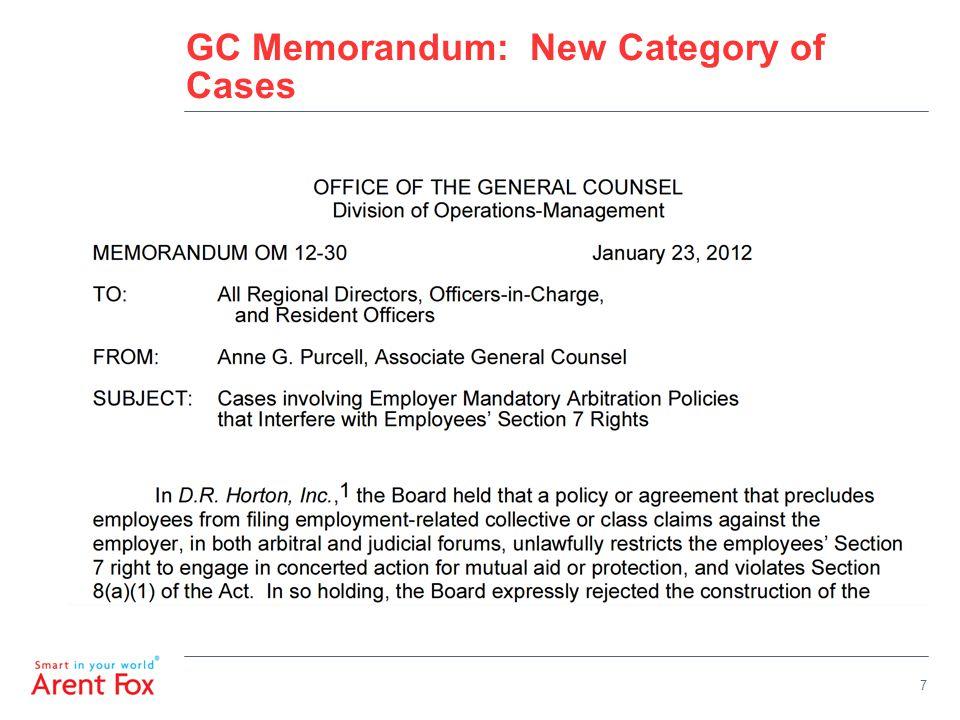 7 GC Memorandum: New Category of Cases