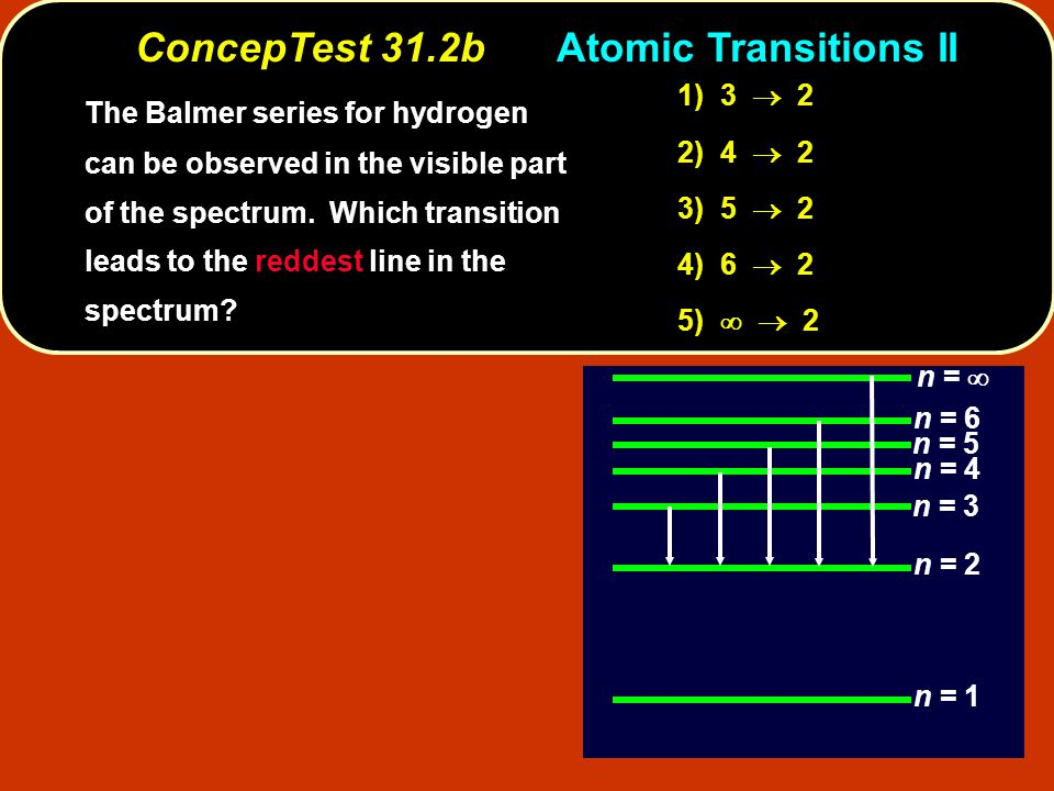 3  2 lowest energylowest frequency longest wavelength reddest The transition 3  2 has the lowest energy and thus the lowest frequency photon, which corresponds to the longest wavelength (and therefore the reddest ) line in the spectrum.