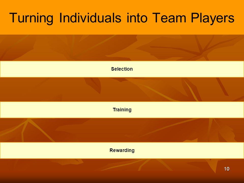 10 Turning Individuals into Team Players Selection Training Rewarding