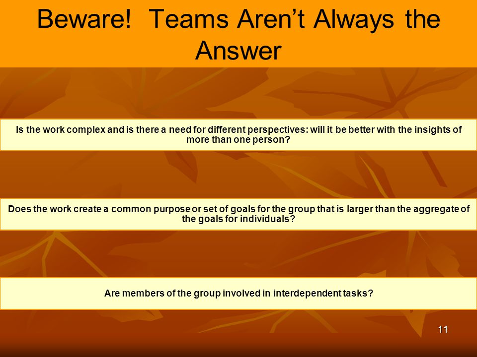 11 Beware! Teams Aren't Always the Answer Is the work complex and is there a need for different perspectives: will it be better with the insights of m