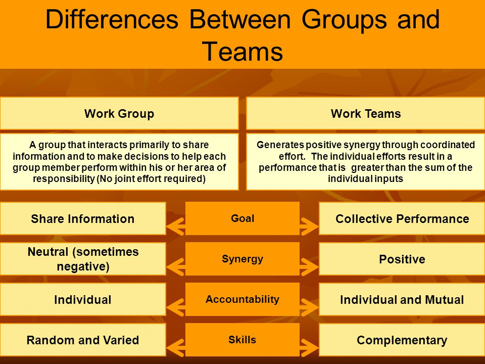 3 Differences Between Groups and Teams Work Group A group that interacts primarily to share information and to make decisions to help each group membe