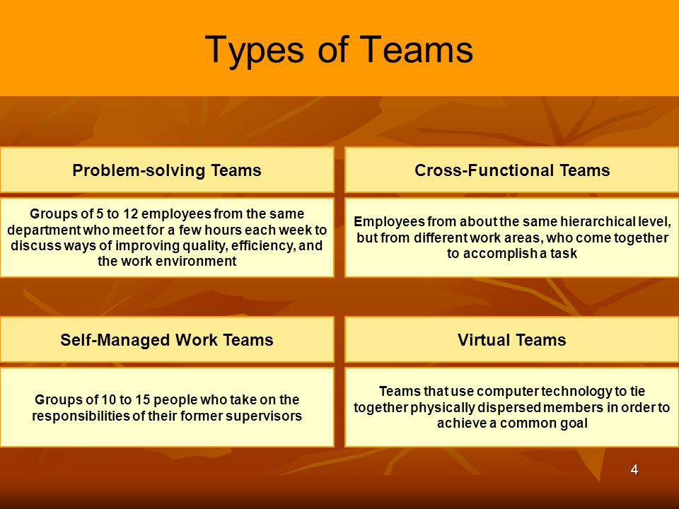 4 Types of Teams Problem-solving Teams Groups of 5 to 12 employees from the same department who meet for a few hours each week to discuss ways of impr