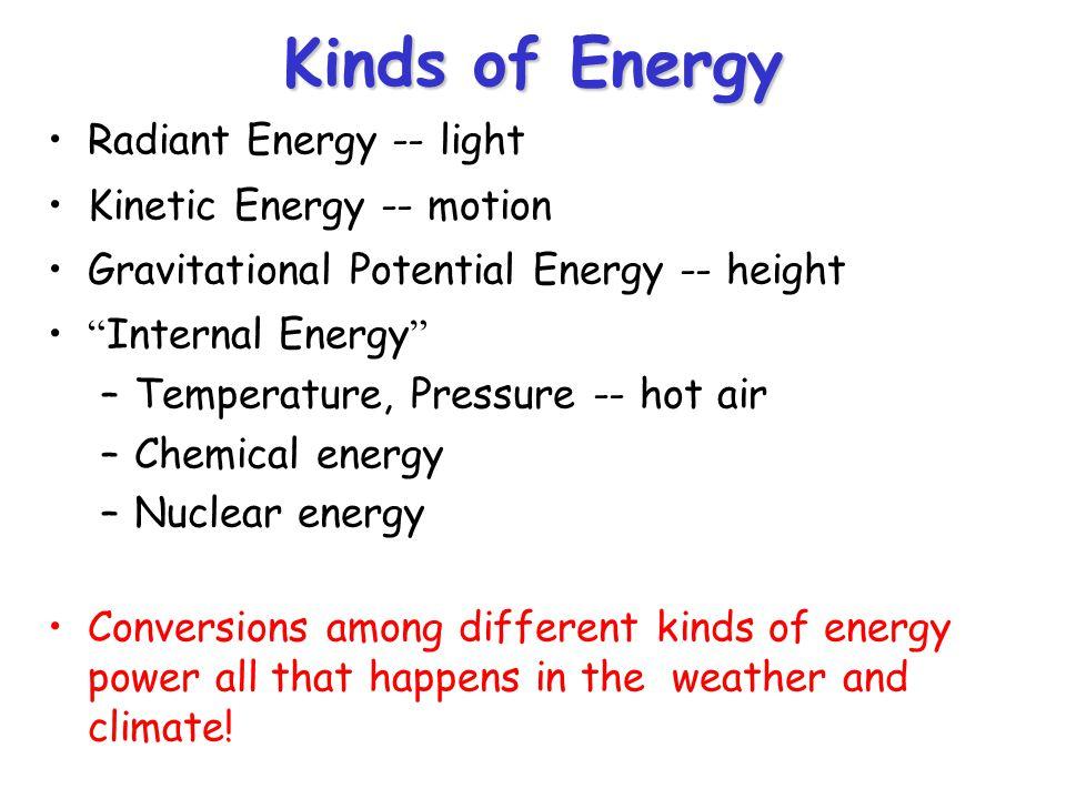 "Kinds of Energy Radiant Energy -- light Kinetic Energy -- motion Gravitational Potential Energy -- height ""Internal Energy"" –Temperature, Pressure --"