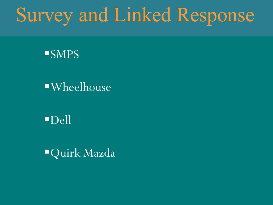 Survey and Linked Response  SMPS  Wheelhouse  Dell  Quirk Mazda