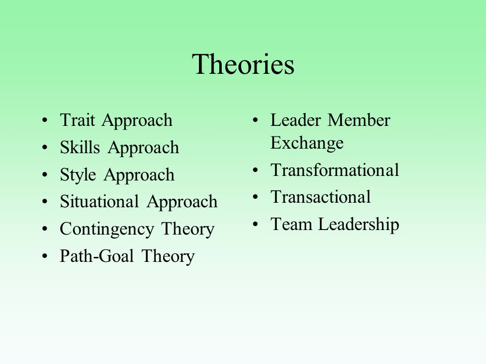 Contingency Theory This is a leader match theory because it tries to match leaders to appropriate situations A leader's effectiveness depends on how well the leader's style fits the context The theory was developed by studying the styles of leaders in situations and whether they were effective (primarily in military organizations) Concerned with styles and situations