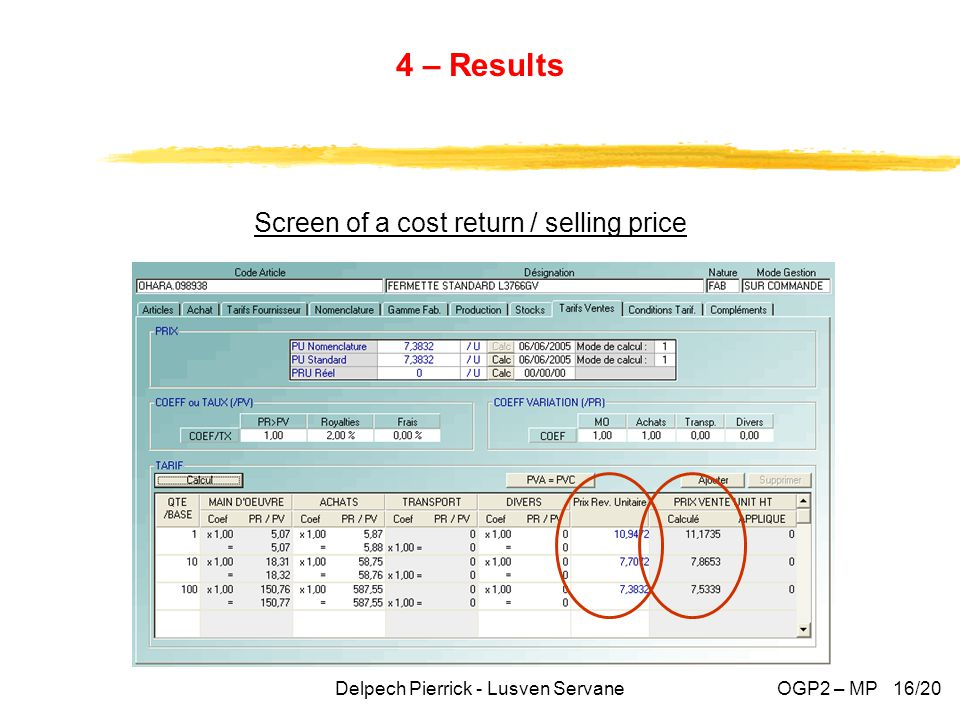 4 – Results Delpech Pierrick - Lusven ServaneOGP2 – MP 16/20 Screen of a cost return / selling price
