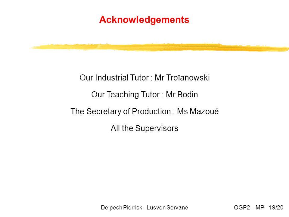 Our Industrial Tutor : Mr Troïanowski Our Teaching Tutor : Mr Bodin The Secretary of Production : Ms Mazoué All the Supervisors Delpech Pierrick - Lusven Servane Acknowledgements OGP2 – MP 19/20