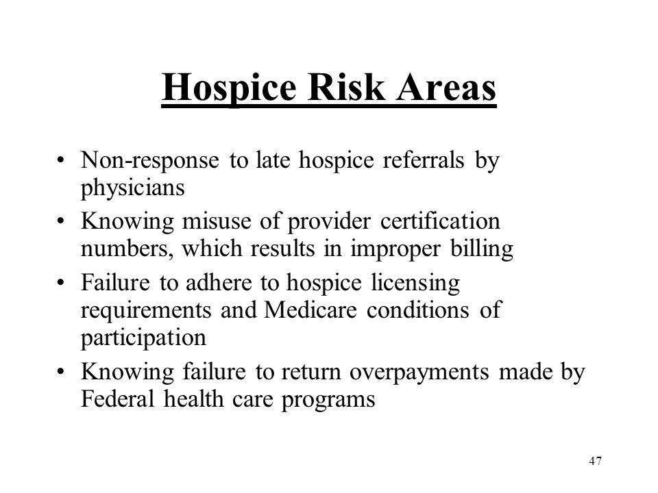47 Hospice Risk Areas Non-response to late hospice referrals by physicians Knowing misuse of provider certification numbers, which results in improper billing Failure to adhere to hospice licensing requirements and Medicare conditions of participation Knowing failure to return overpayments made by Federal health care programs