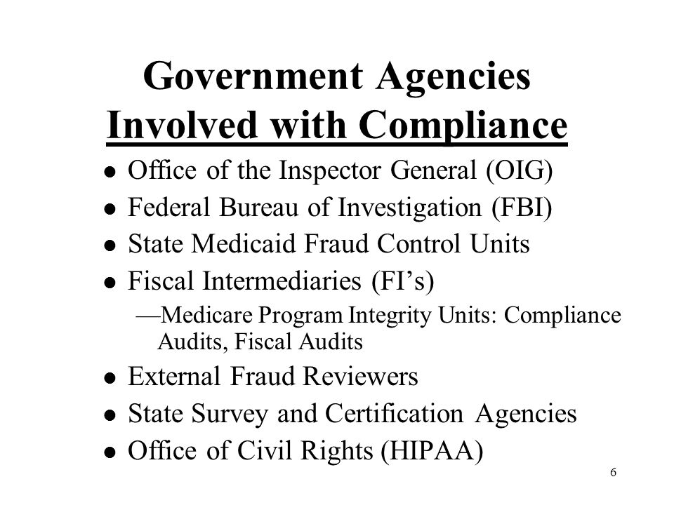 6 Government Agencies Involved with Compliance l Office of the Inspector General (OIG) l Federal Bureau of Investigation (FBI) l State Medicaid Fraud Control Units l Fiscal Intermediaries (FI's) —Medicare Program Integrity Units: Compliance Audits, Fiscal Audits l External Fraud Reviewers l State Survey and Certification Agencies l Office of Civil Rights (HIPAA)