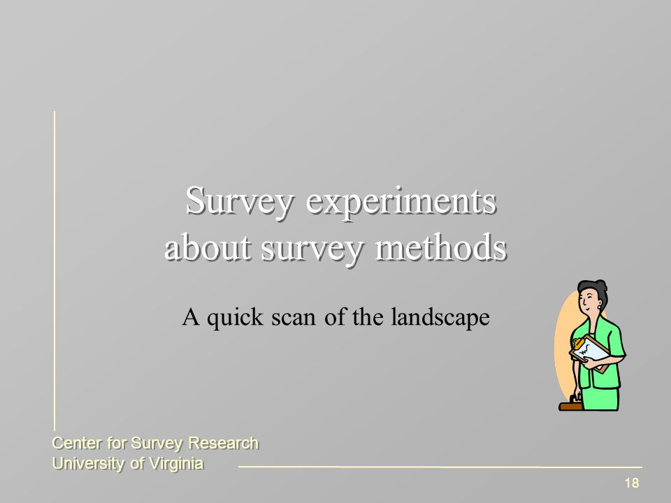 Center for Survey Research University of Virginia Center for Survey Research University of Virginia 18 Survey experiments about survey methods A quick scan of the landscape