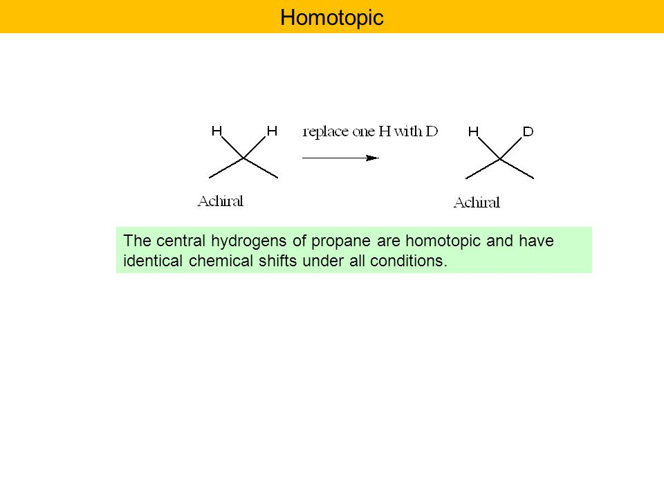 Homotopic The central hydrogens of propane are homotopic and have identical chemical shifts under all conditions.