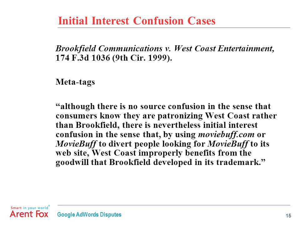 Initial Interest Confusion Cases Brookfield Communications v.