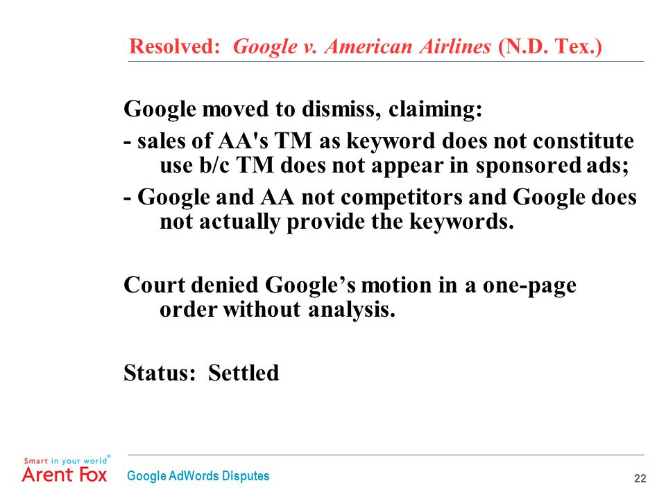 Resolved: Google v. American Airlines (N.D.
