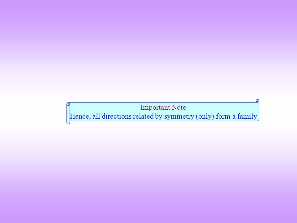 Important Note Hence, all directions related by symmetry (only) form a family