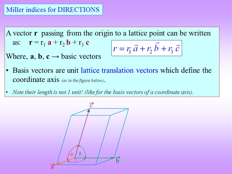Miller indices for DIRECTIONS A vector r passing from the origin to a lattice point can be written as:r = r 1 a + r 2 b + r 3 c Where, a, b, c → basic