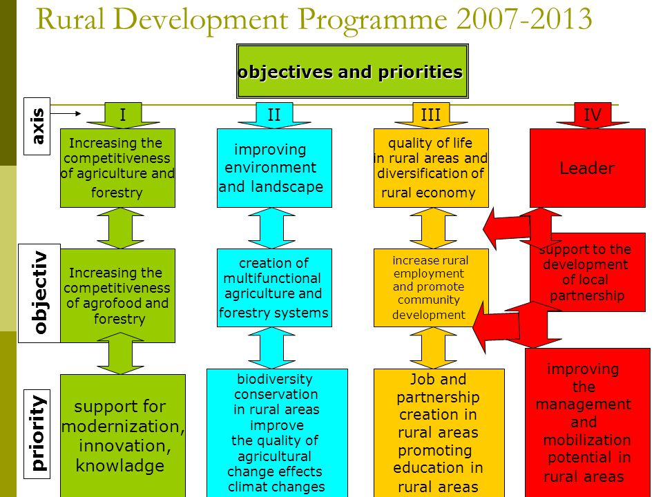 8 Rural Development Programme 2007-2013 objectives and priorities Increasing the competitiveness of agriculture and forestry support for modernization, innovation, knowladge biodiversity conservation in rural areas improve the quality of agricultural change effects climat changes Job and partnership creation in rural areas promoting education in rural areas improving the management and mobilization potential in rural areas Increasing the competitiveness of agrofood and forestry creation of multifunctional agriculture and forestry systems increase rural employment and promote community development support to the development of local partnership improving environment and landscape quality of life in rural areas and diversification of rural economy Leader IIVIIIII objectiv priority axis