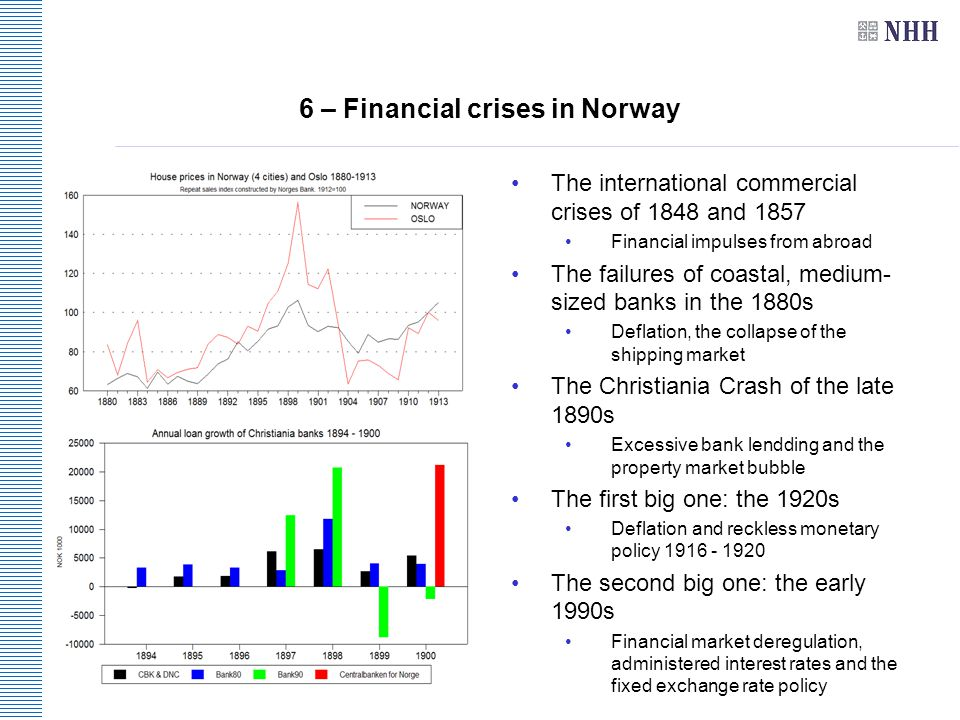 6 – Financial crises in Norway The international commercial crises of 1848 and 1857 Financial impulses from abroad The failures of coastal, medium- sized banks in the 1880s Deflation, the collapse of the shipping market The Christiania Crash of the late 1890s Excessive bank lendding and the property market bubble The first big one: the 1920s Deflation and reckless monetary policy 1916 - 1920 The second big one: the early 1990s Financial market deregulation, administered interest rates and the fixed exchange rate policy