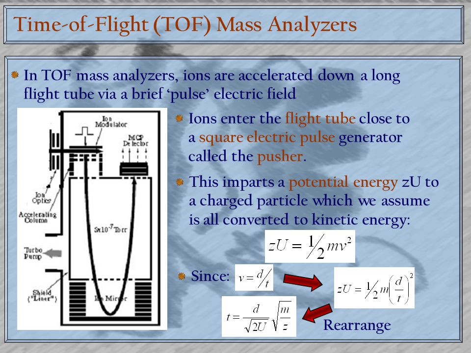 Time-of-Flight (TOF) Mass Analyzers In TOF mass analyzers, ions are accelerated down a long flight tube via a brief 'pulse' electric field Ions enter