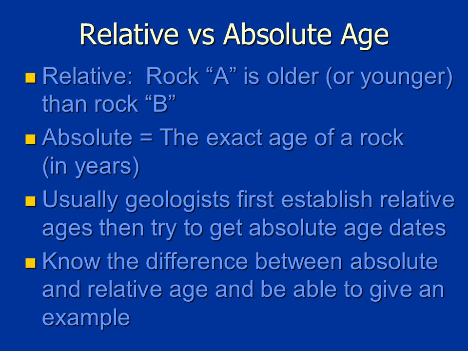 Relative vs Absolute Age Relative: Rock A is older (or younger) than rock B Relative: Rock A is older (or younger) than rock B Absolute = The exact age of a rock (in years) Absolute = The exact age of a rock (in years) Usually geologists first establish relative ages then try to get absolute age dates Usually geologists first establish relative ages then try to get absolute age dates Know the difference between absolute and relative age and be able to give an example Know the difference between absolute and relative age and be able to give an example