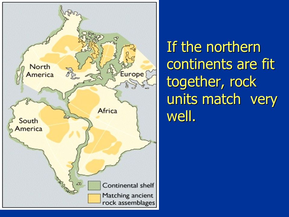 If the northern continents are fit together, rock units match very well.