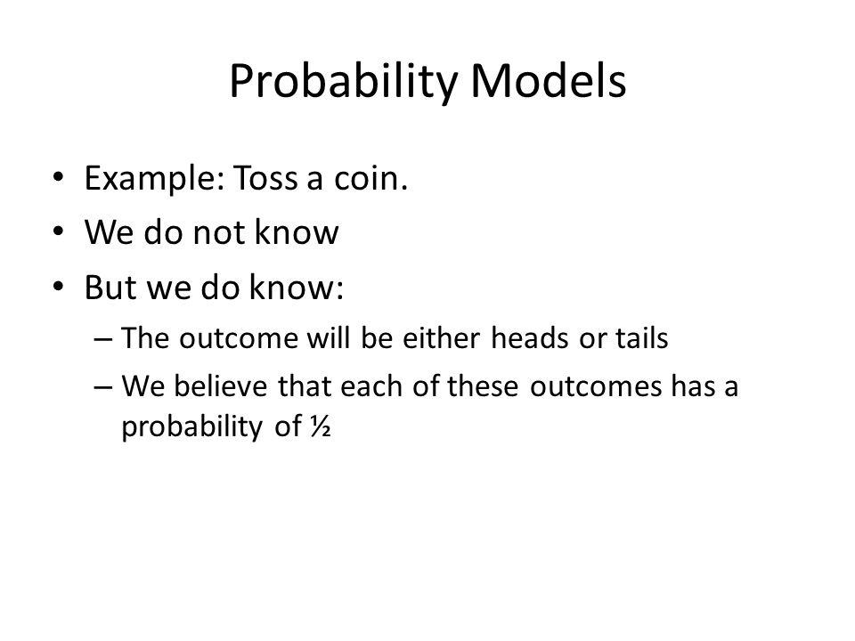 Finite Sample Space Probabilities in a finite sample space – Assign a probability to each individual outcome.