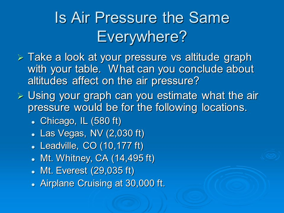 How Air Pressure Works  The pressure is affected by two things: How much atmosphere there is How much atmosphere there is The mass of the planet, which determines the gravity that pulls the air down.