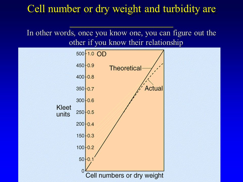 Cell number or dry weight and turbidity are ___________________ In other words, once you know one, you can figure out the other if you know their relationship