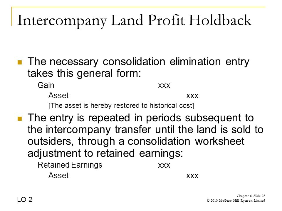 Intercompany Land Profit Holdback The necessary consolidation elimination entry takes this general form: Gainxxx Assetxxx [The asset is hereby restored to historical cost] The entry is repeated in periods subsequent to the intercompany transfer until the land is sold to outsiders, through a consolidation worksheet adjustment to retained earnings: Retained Earningsxxx Assetxxx LO 2 Chapter 6, Slide 25 © 2010 McGraw-Hill Ryerson Limited