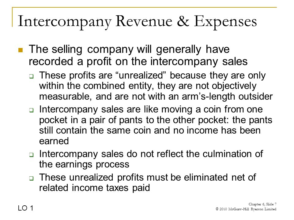 Intercompany Revenue & Expenses The selling company will generally have recorded a profit on the intercompany sales  These profits are unrealized because they are only within the combined entity, they are not objectively measurable, and are not with an arm's-length outsider  Intercompany sales are like moving a coin from one pocket in a pair of pants to the other pocket: the pants still contain the same coin and no income has been earned  Intercompany sales do not reflect the culmination of the earnings process  These unrealized profits must be eliminated net of related income taxes paid LO 1 Chapter 6, Slide 7 © 2010 McGraw-Hill Ryerson Limited