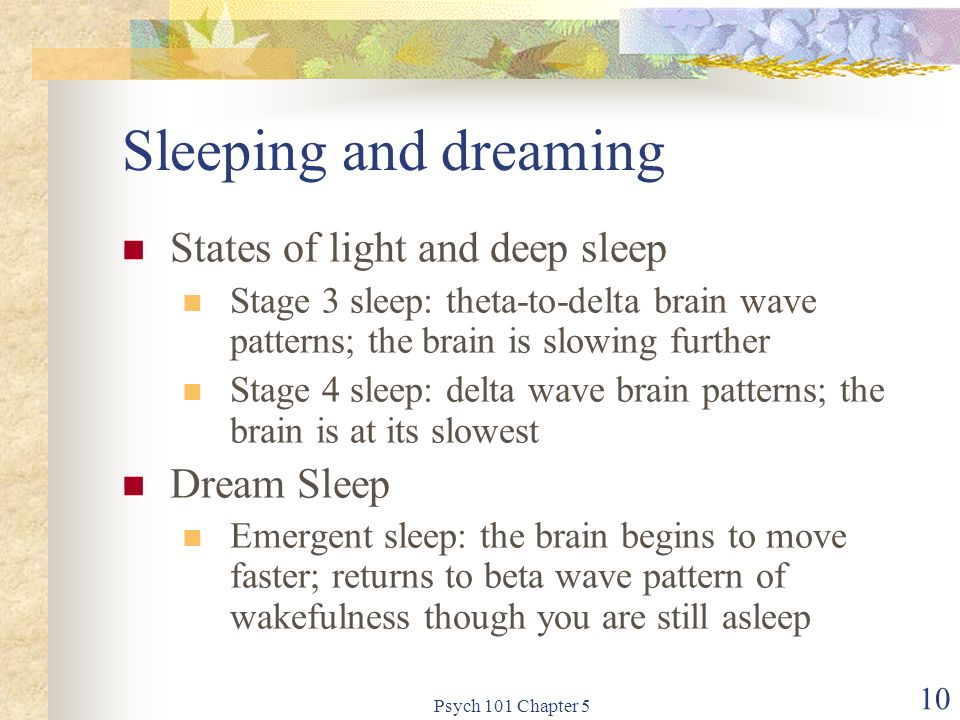 Psych 101 Chapter 5 10 Sleeping and dreaming States of light and deep sleep Stage 3 sleep: theta-to-delta brain wave patterns; the brain is slowing further Stage 4 sleep: delta wave brain patterns; the brain is at its slowest Dream Sleep Emergent sleep: the brain begins to move faster; returns to beta wave pattern of wakefulness though you are still asleep