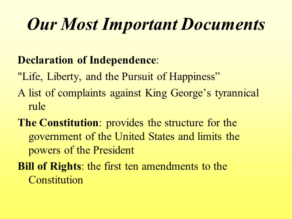Our Most Important Documents Declaration of Independence: Life, Liberty, and the Pursuit of Happiness A list of complaints against King George's tyrannical rule The Constitution: provides the structure for the government of the United States and limits the powers of the President Bill of Rights: the first ten amendments to the Constitution