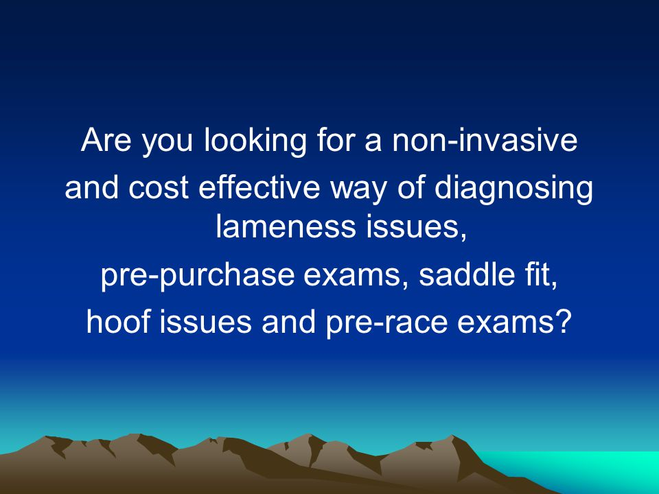 Are you looking for a non-invasive and cost effective way of diagnosing lameness issues, pre-purchase exams, saddle fit, hoof issues and pre-race exams