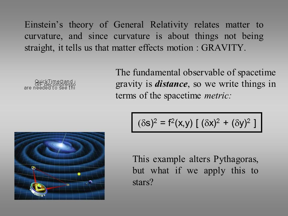 Einstein's theory of General Relativity relates matter to curvature, and since curvature is about things not being straight, it tells us that matter effects motion : GRAVITY.