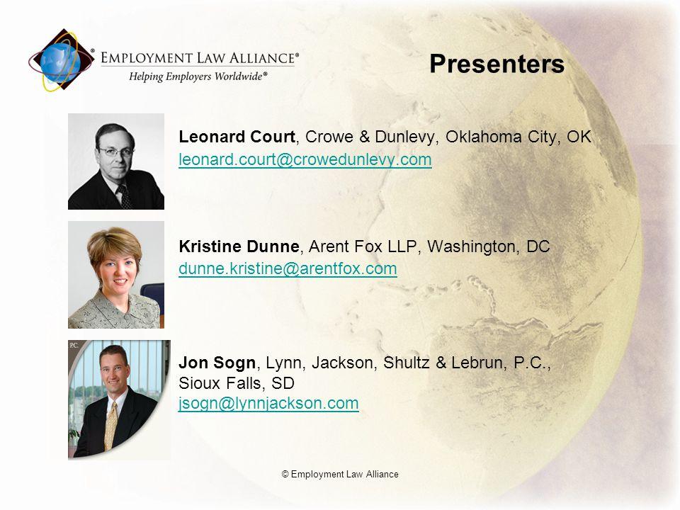 Presenters Leonard Court, Crowe & Dunlevy, Oklahoma City, OK leonard.court@crowedunlevy.com Kristine Dunne, Arent Fox LLP, Washington, DC dunne.kristi
