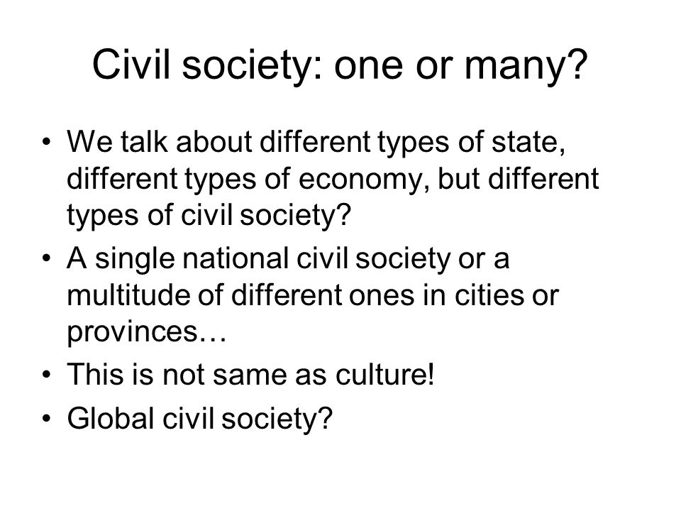 Civil society: one or many.