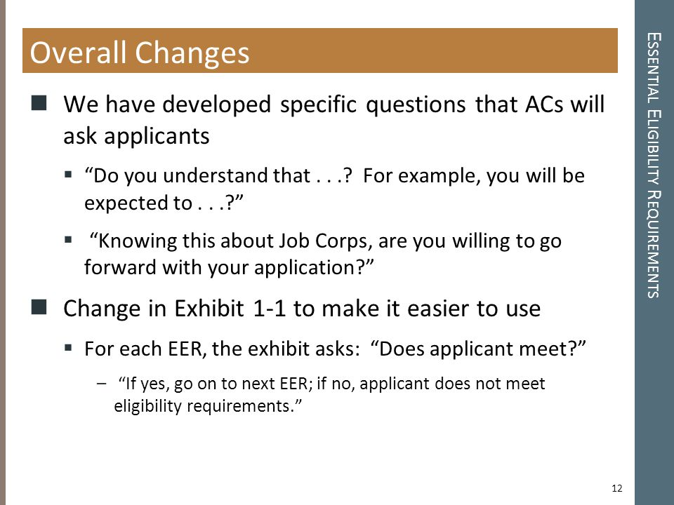 E SSENTIAL E LIGIBILITY R EQUIREMENTS Overall Changes We have developed specific questions that ACs will ask applicants  Do you understand that....