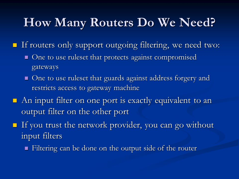 How Many Routers Do We Need.