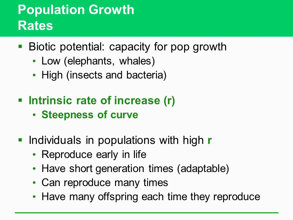 Population Growth Rates  Biotic potential: capacity for pop growth Low (elephants, whales) High (insects and bacteria)  Intrinsic rate of increase (