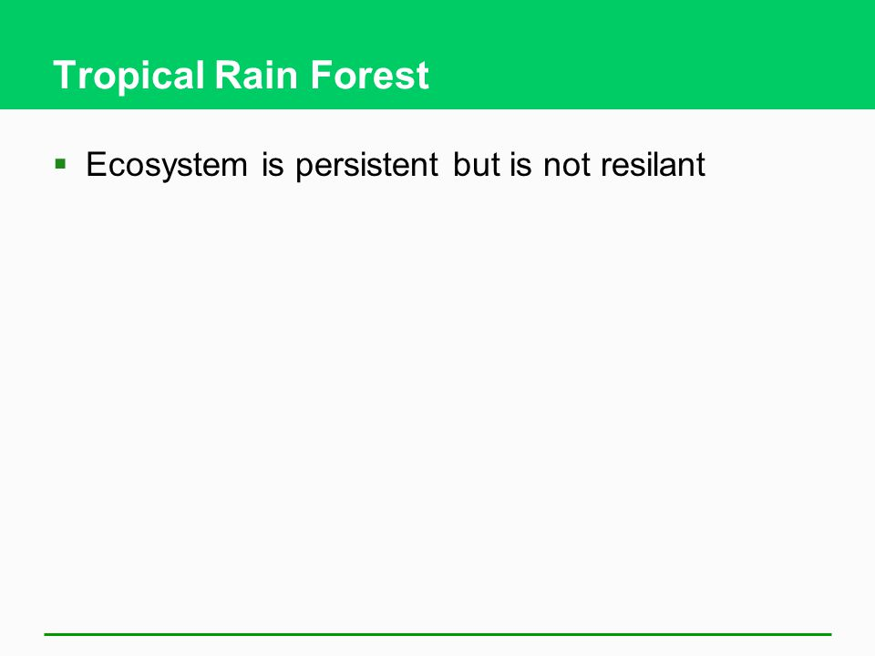 Tropical Rain Forest  Ecosystem is persistent but is not resilant