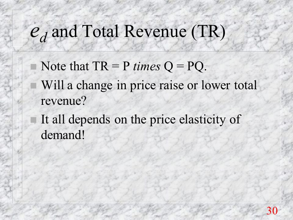 30 e d and Total Revenue (TR) n Note that TR = P times Q = PQ.