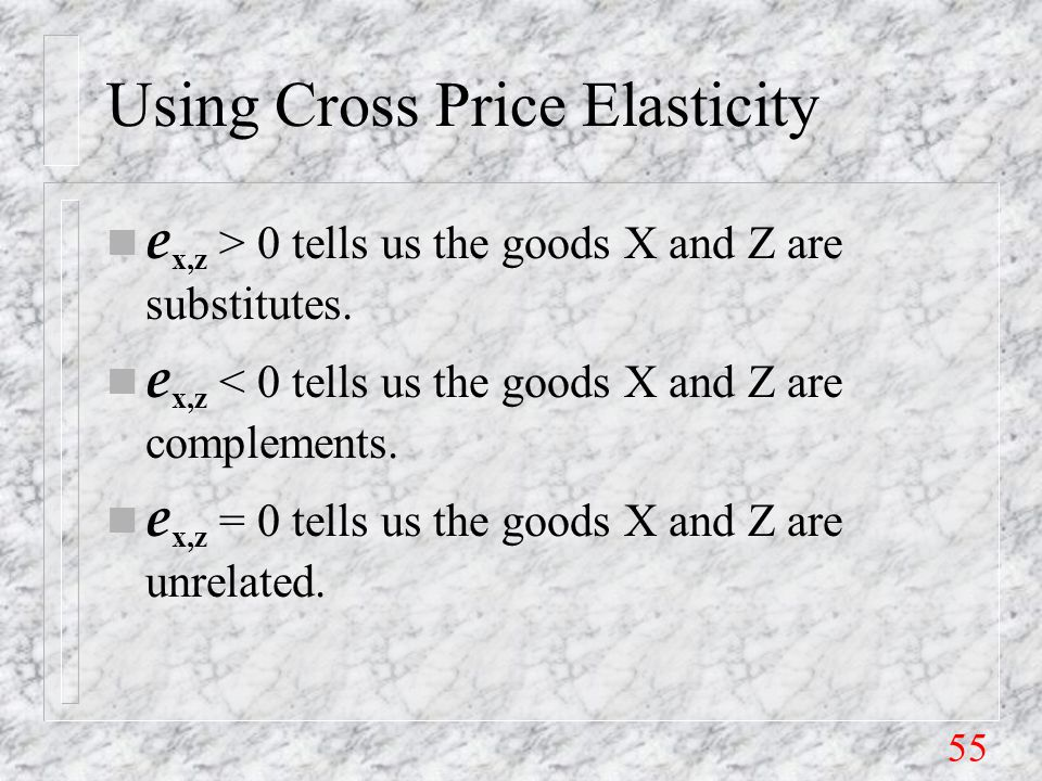 55 Using Cross Price Elasticity e x,z > 0 tells us the goods X and Z are substitutes.