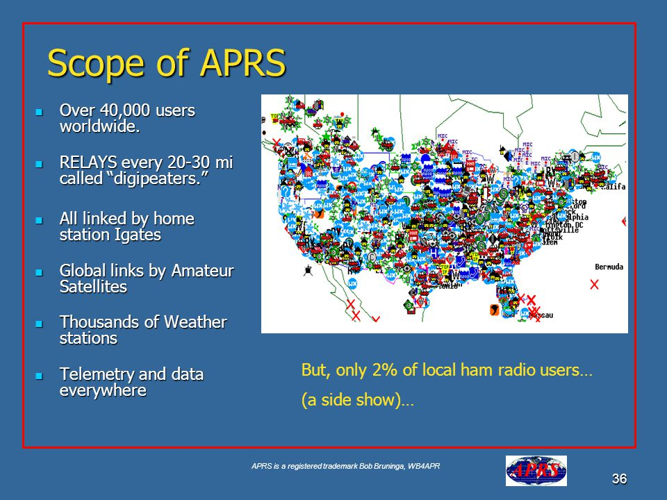 APRS is a registered trademark Bob Bruninga, WB4APR 36 Scope of APRS Over 40,000 users worldwide. Over 40,000 users worldwide. RELAYS every 20-30 mi c