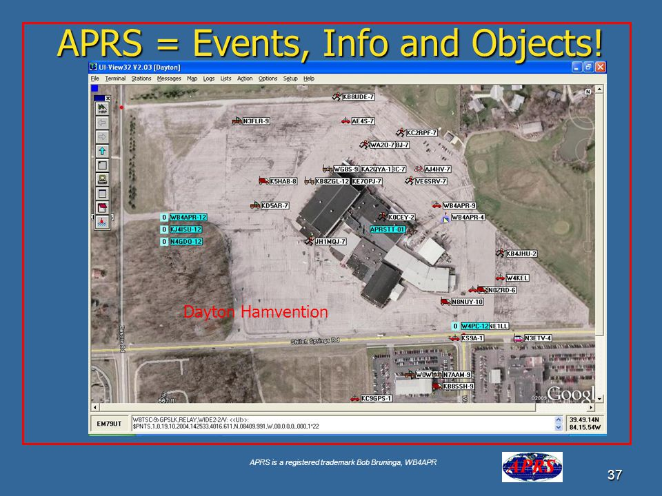 APRS is a registered trademark Bob Bruninga, WB4APR 37 APRS = Events, Info and Objects! Dayton Hamvention