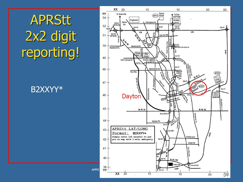 APRS is a registered trademark Bob Bruninga, WB4APR 51 APRStt 2x2 digit reporting! Dayton B2XXYY*