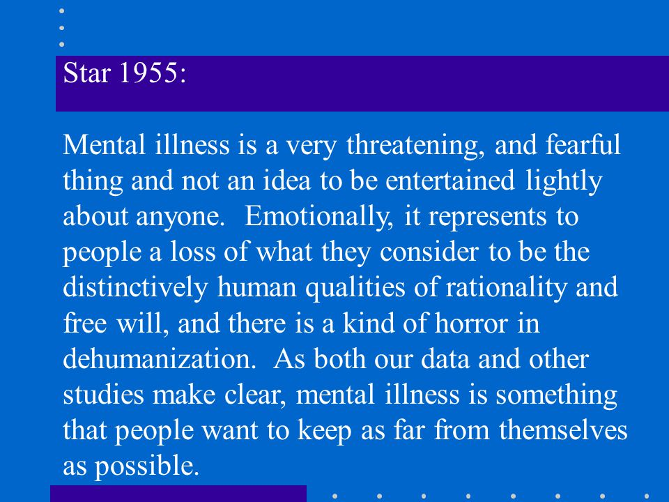Star 1955: Mental illness is a very threatening, and fearful thing and not an idea to be entertained lightly about anyone.