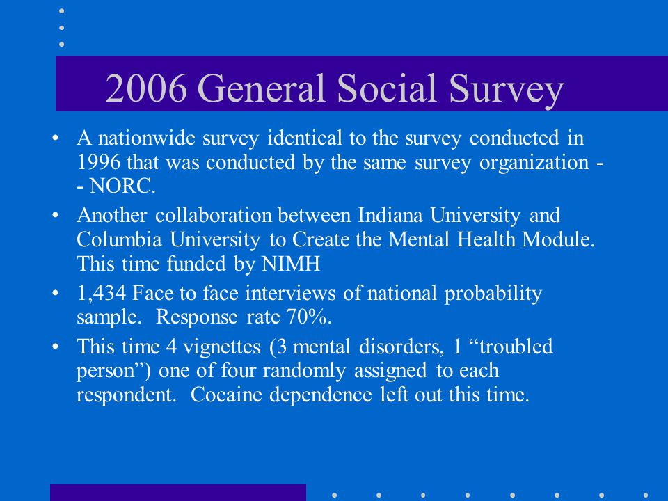 2006 General Social Survey A nationwide survey identical to the survey conducted in 1996 that was conducted by the same survey organization - - NORC.