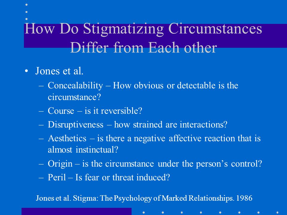 How Do Stigmatizing Circumstances Differ from Each other Jones et al.